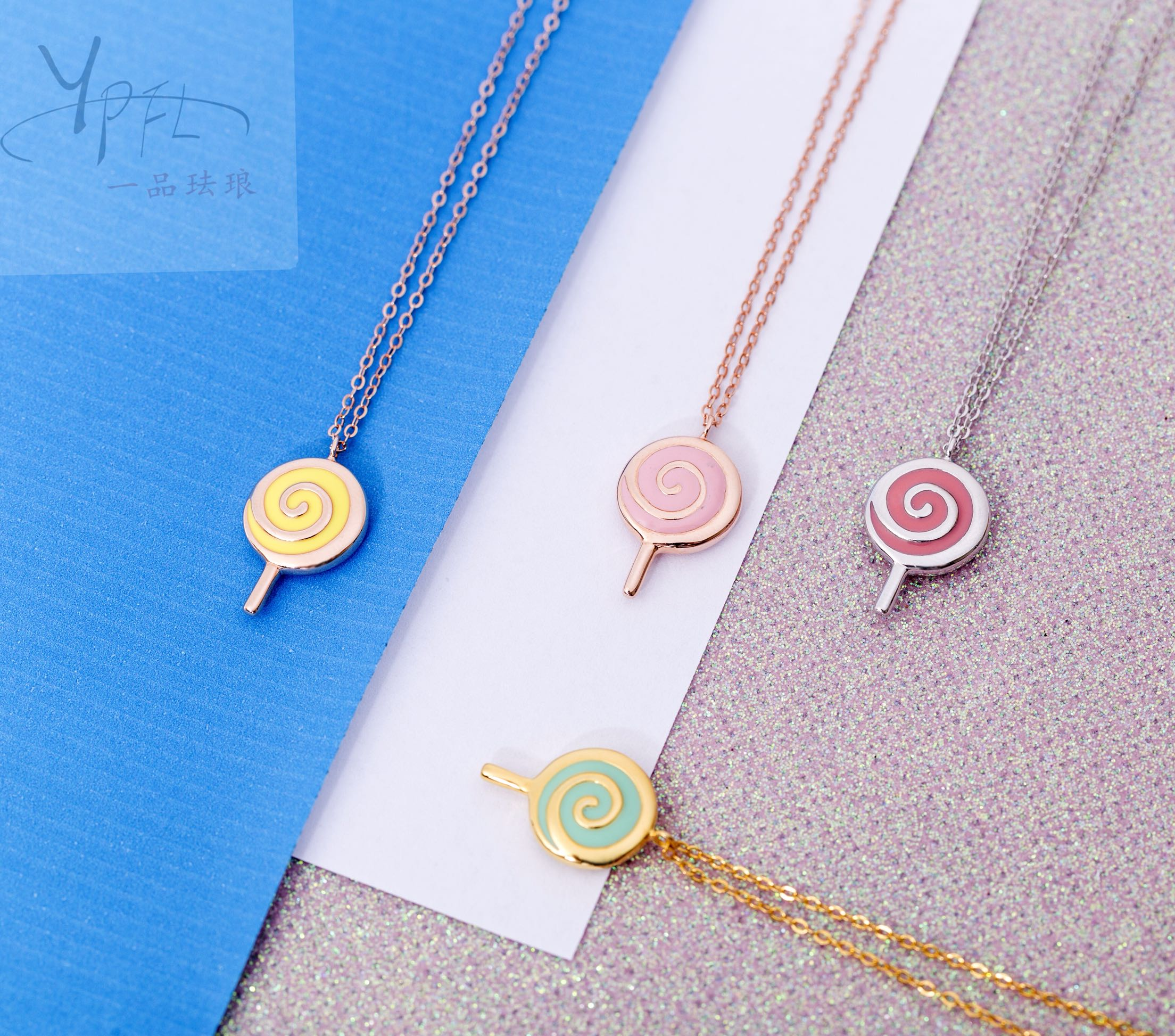网红爆款女项链925纯银珐琅棒棒糖项链送女友礼物七夕情人节礼物168.00元包邮
