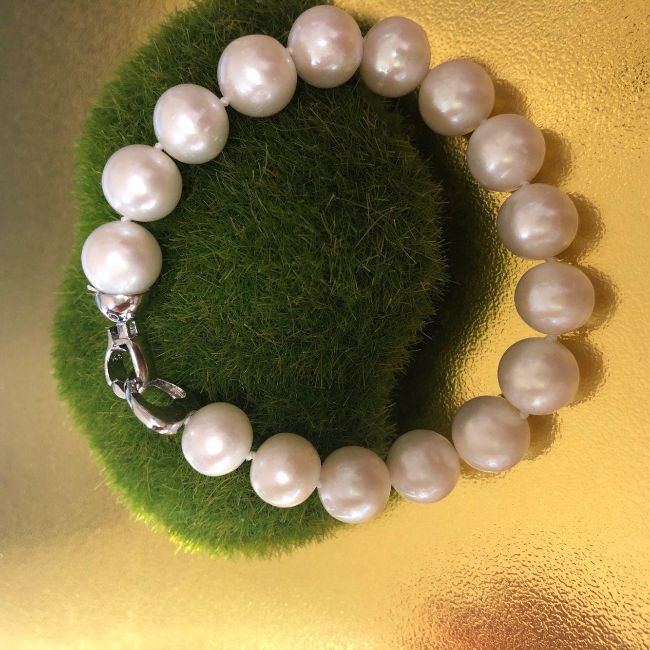 天然珍珠粉手链 11-12mm正圆极强光天然淡水珍珠正品女特价包邮