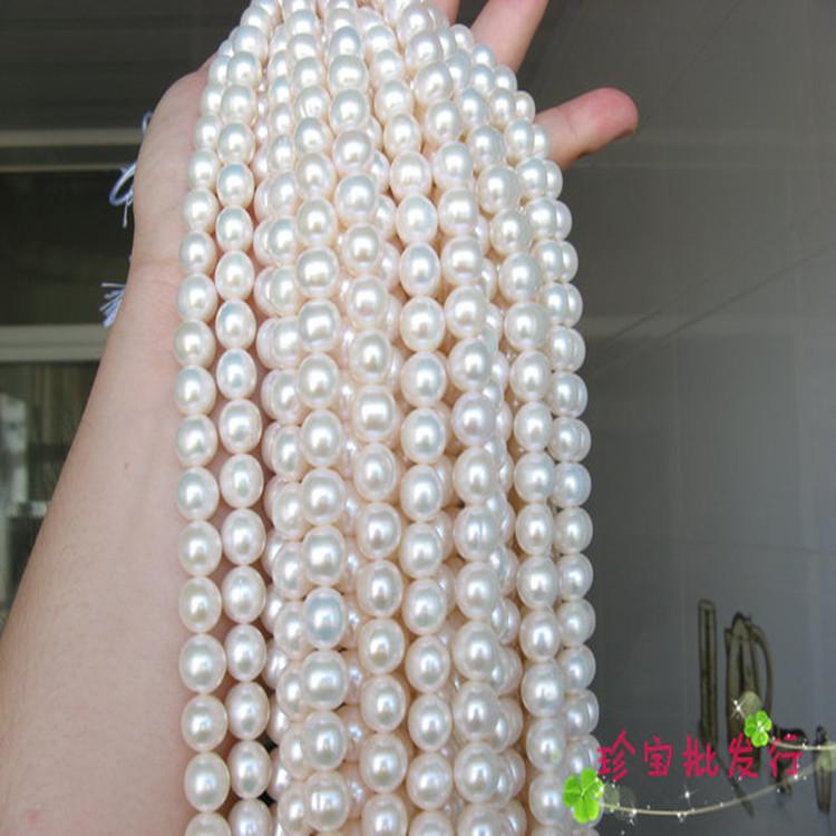 假一赔十天然正品8-9珍珠项链近圆珍珠项链送妈妈朋友特价包邮