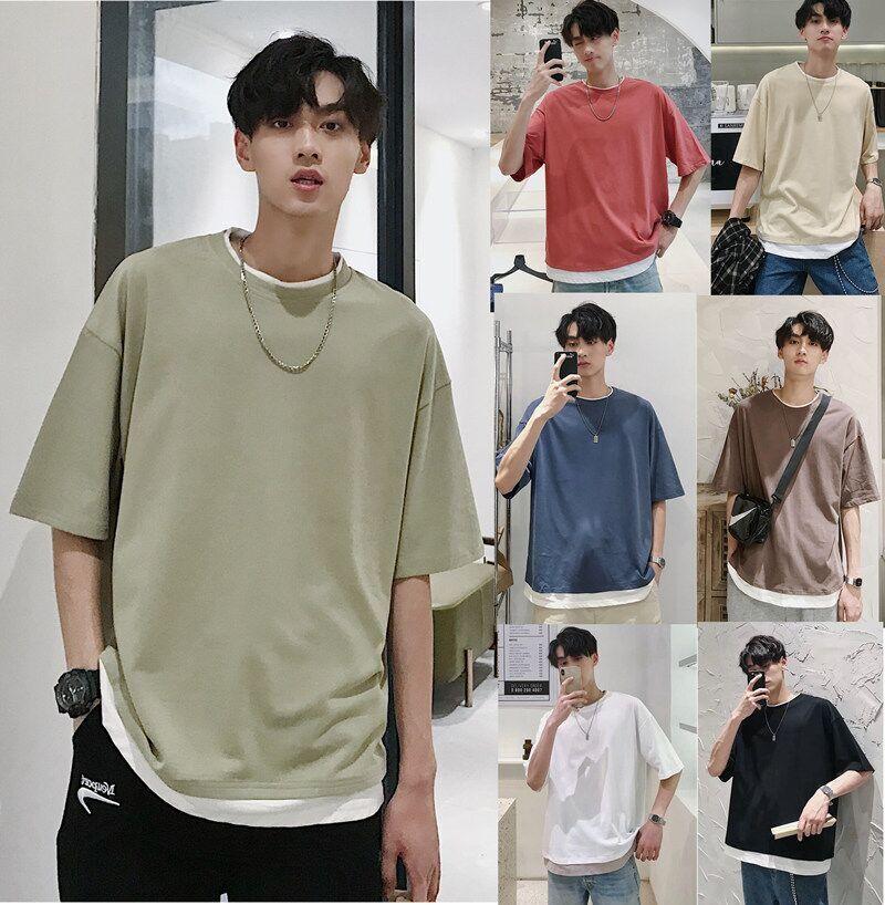 夏季潮牌假两件短袖男生韩版t恤18.80元包邮