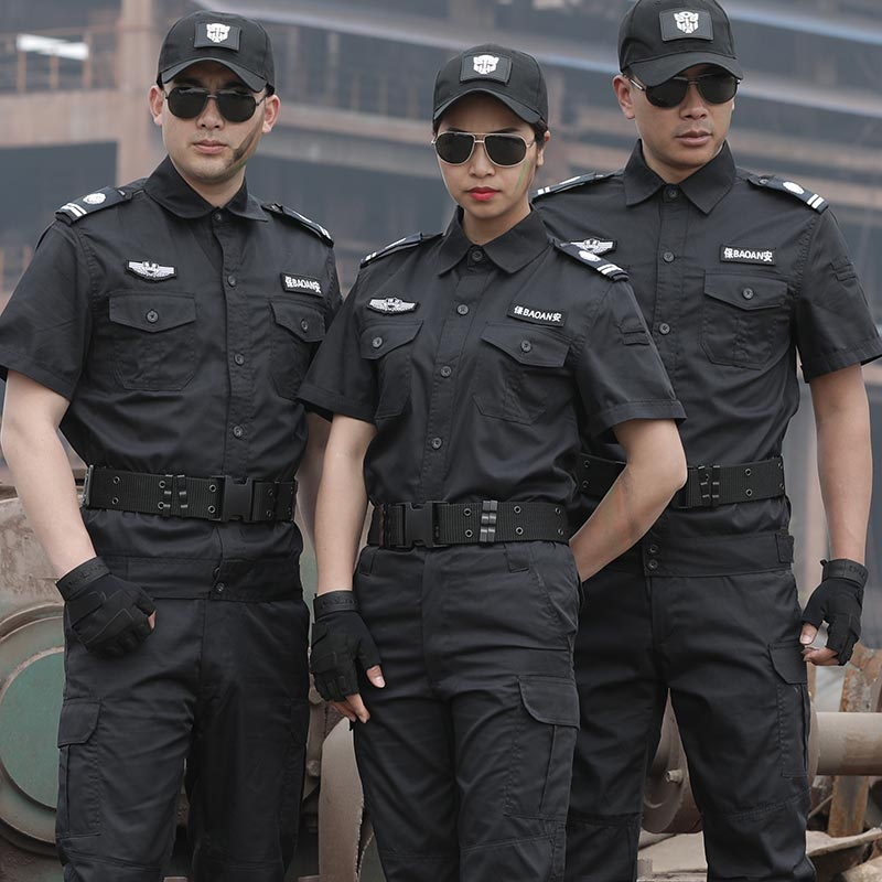 Security training suit mens Summer Short Sleeve Black work suit wear-resistant security property uniform breathable special training suit