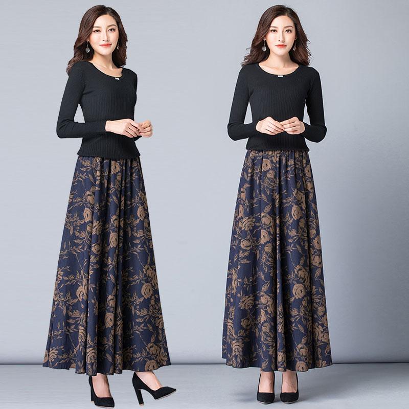 秋冬季新款韩版高腰加厚半身裙女中长款大码冬裙花色百搭大摆长裙