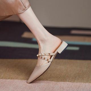 包头半拖鞋女夏外穿时尚粗跟尖头平底铆钉凉拖鞋一字带真皮凉鞋潮