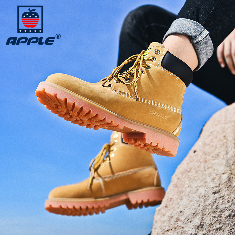 Apple mens shoes Martin boots mens rhubarb boots high top British tooling boots middle top desert leather boots snow cotton shoes