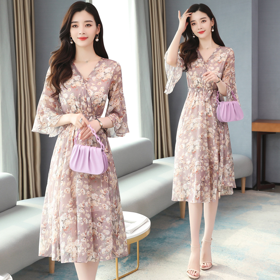 Dress new 2020 summer Chiffon floral long dress super xiansen sweet little fresh fairy skirt