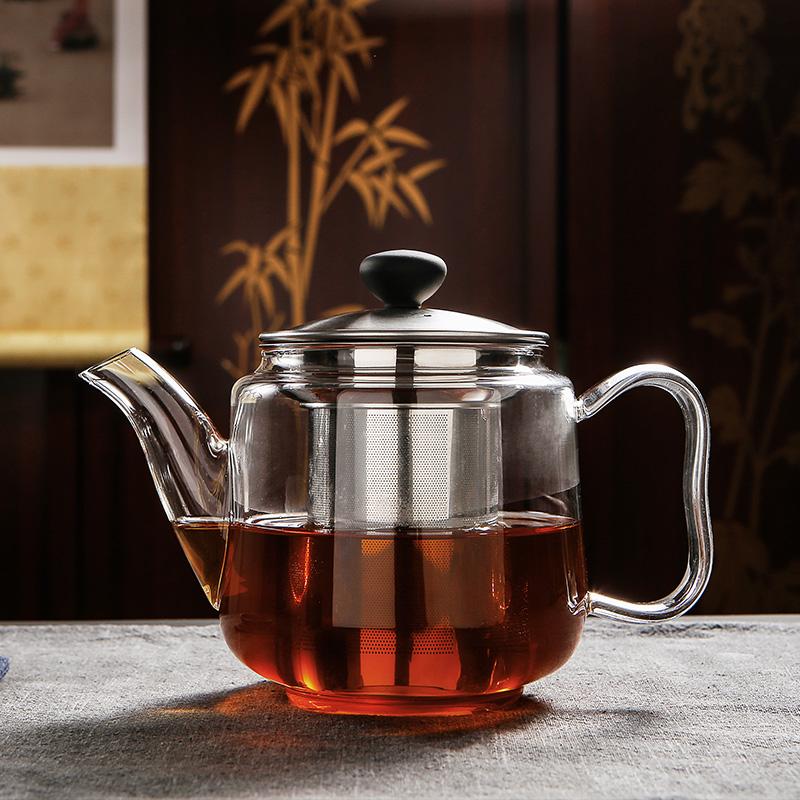 满80.00元可用31元优惠券雅风纯手工玻璃茶壶耐高温加厚烧水壶电陶炉泡茶壶不锈钢家用茶壶