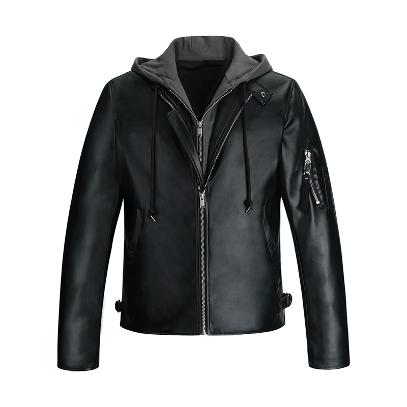 Bird mens fashion down leather jacket mens detachable hooded leather jacket b2bc94666