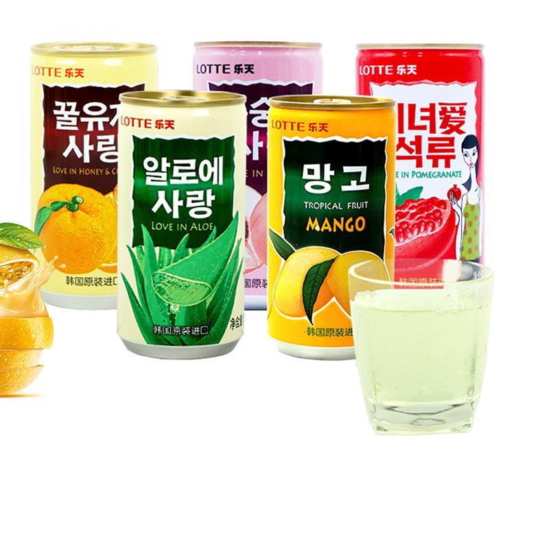 韩国进口食品乐天芒果桃汁饮料180mlx10罐装酸甜口味芦荟饮料零食