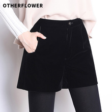Aofei's new autumn and winter 2019 gold velvet wide leg A-shaped shorts women's Velvet loose outside casual boots and pants