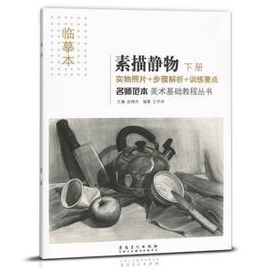 正版 临摹本素描静物下册 素描美术基础教程丛书实物照片步骤解析训练要点素描基础教程绘画素材题材艺术艺考素描书籍