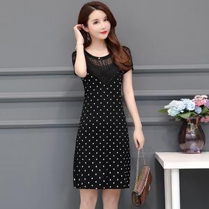 2021夏季新款大码女装30-40岁中年妈妈装连衣裙修身中长款打底衫