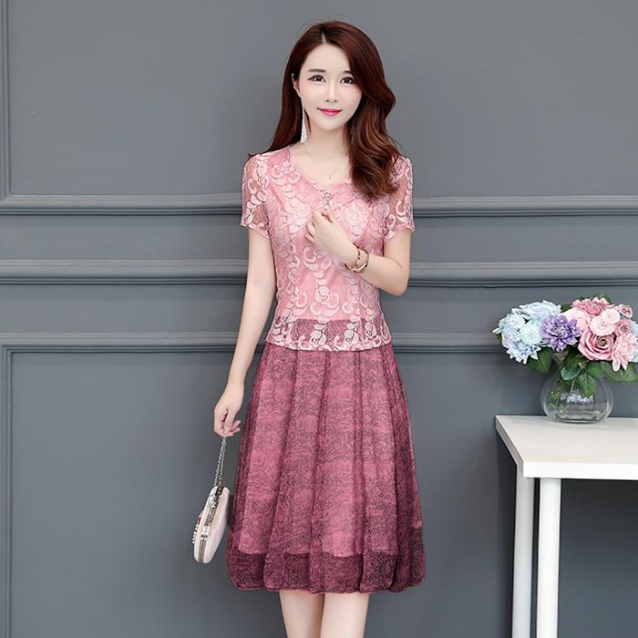 2018夏季韩版新款中年女装蕾丝短袖连衣裙妈妈修身显瘦中长款裙子