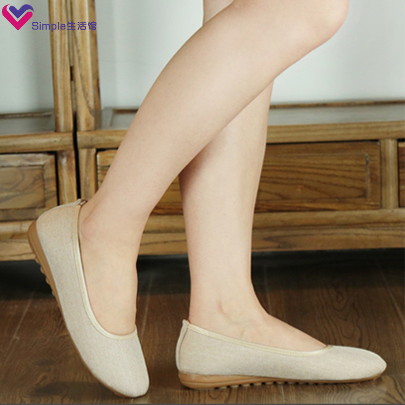 Summer new old Beijing cloth shoes large flat sole soft sole mothers shoes professional working nurse single shoes womens comfort