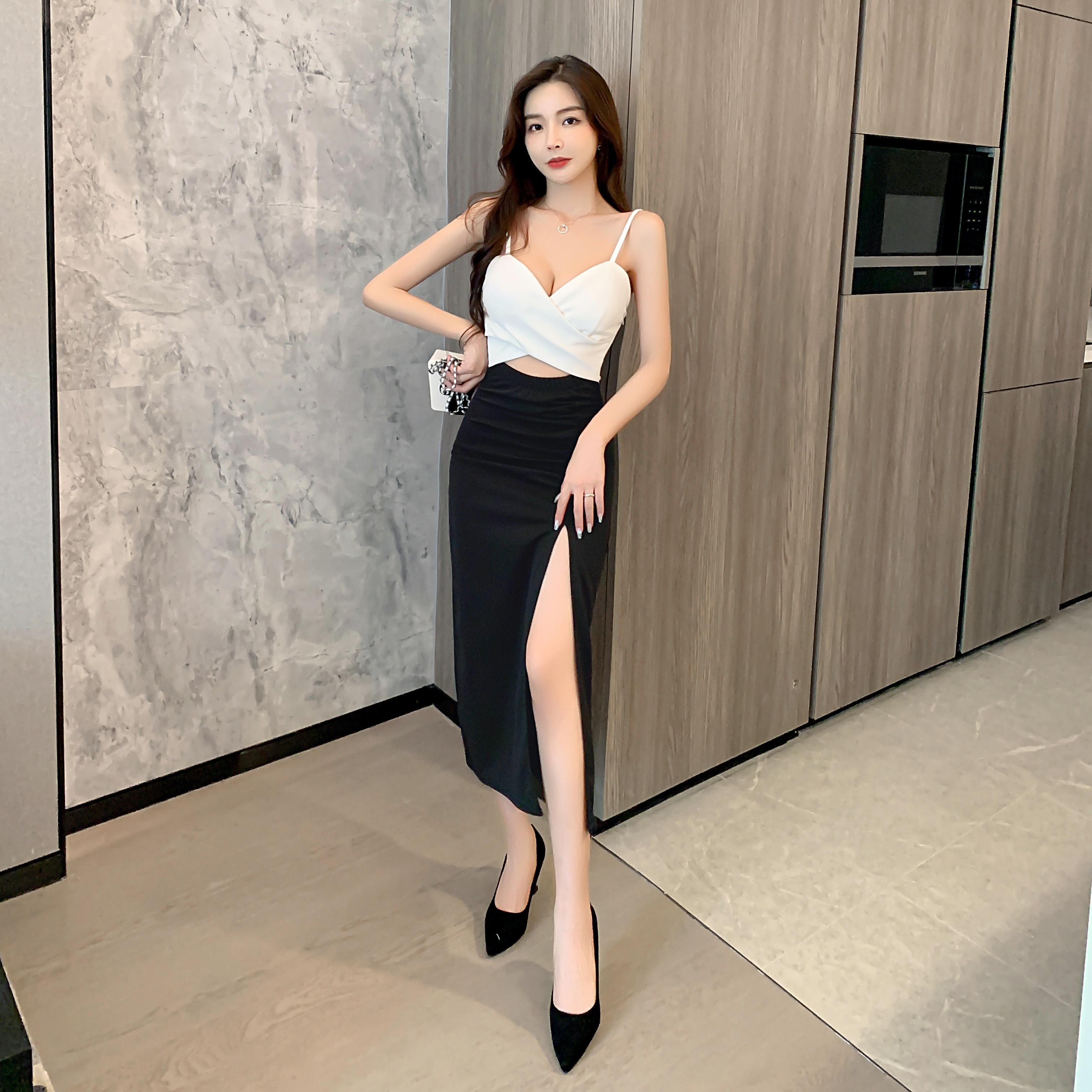 實拍現貨控2性感撞色打底高開叉緊身包臀連衣裙夜店工裝