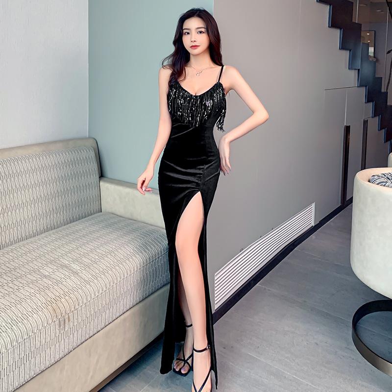 實拍現貨控2金絲絨性感流蘇吊帶長款禮服裙夜店公主裙
