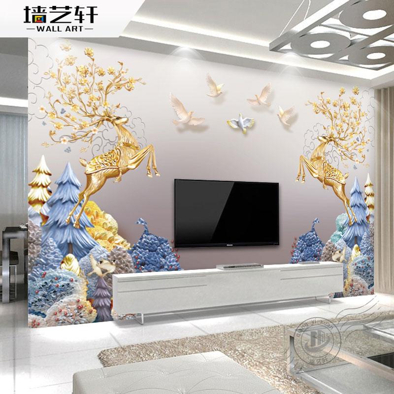 金色麋鹿客厅壁纸墙壁布电视背景墙10月17日最新优惠