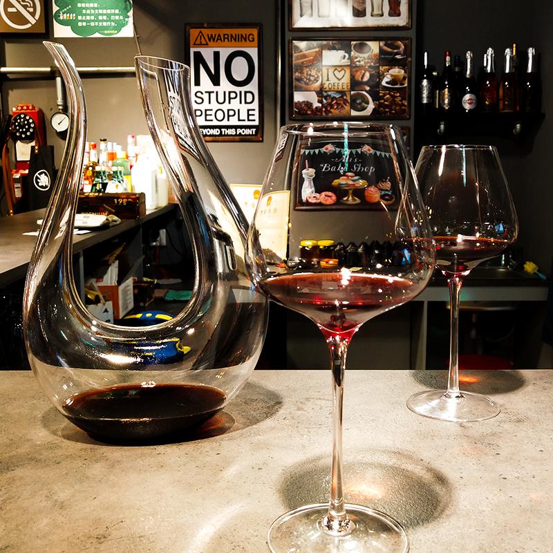 家用大号红酒杯套装欧式葡萄酒杯高脚杯水晶玻璃红酒醒酒器6只装