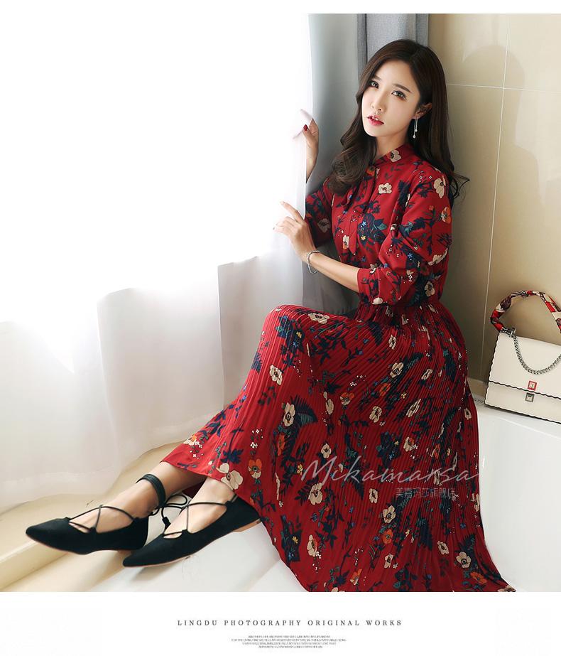 Flower eye catching early autumn dress 2020 tea break French style street dress with coat dress medium length