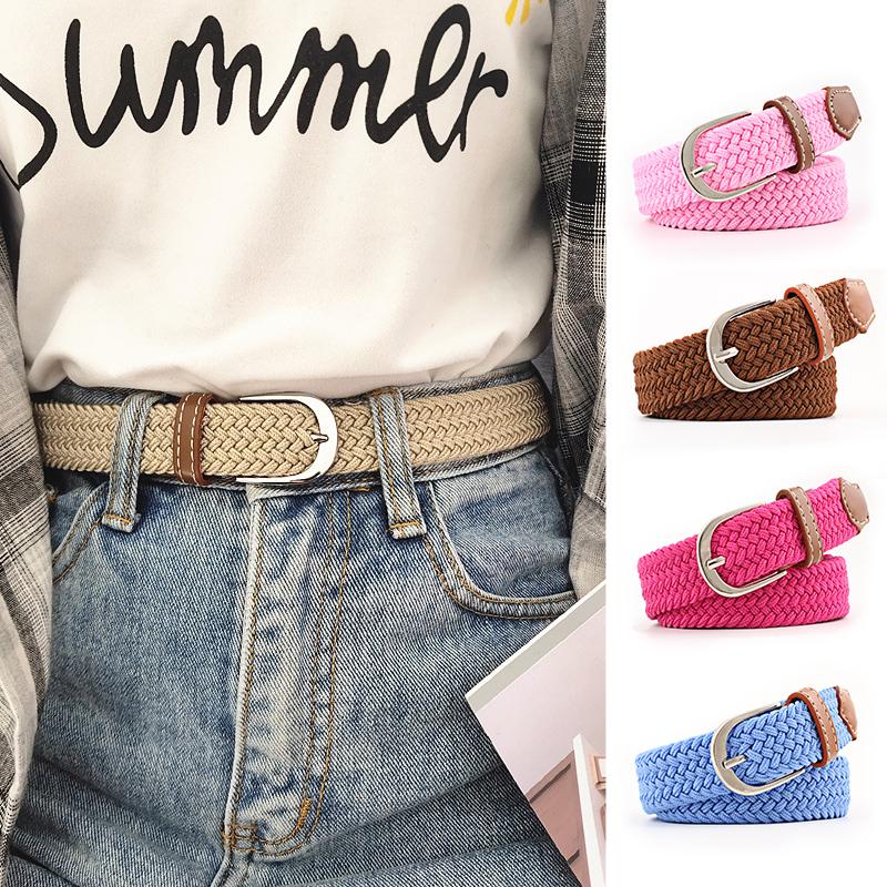 Elastic waistband womens thin elastic knitting pants belt fabric leisure weaving simple student canvas belt jeans