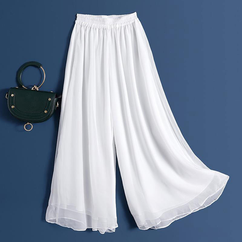 阔腿裤女高腰垂感夏2020年新款白裤子夏季薄款雪纺裤休闲裙裤显瘦