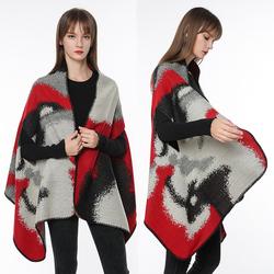 披肩女秋冬季斗篷式外套围巾两用马甲百搭多功能加厚保暖针织披风