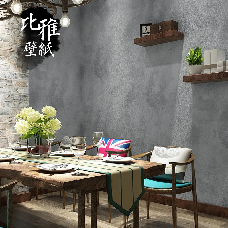 复古怀旧纯色素色工业风餐厅墙纸