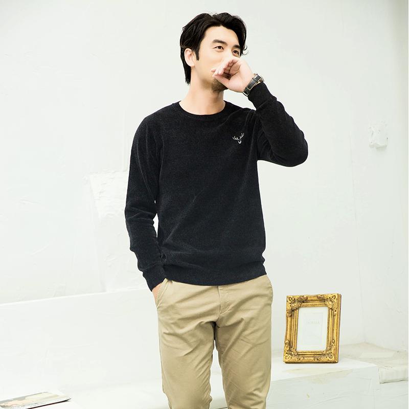 7711生活馆秋冬男士雪尼尔绒毛衣超柔套头韩版宽松潮流丝绒针织衫