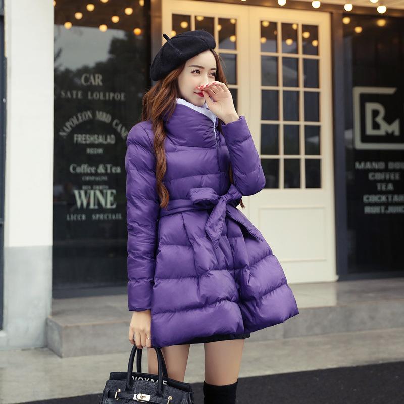 潮流中长款女装棉衣加厚2019年冬季新品韩版时尚修身简约纯色棉服