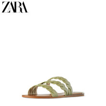 ZARA New Women's Shoes 2019 Summer Khaki Green Braided Belt Flat-soled Sandals 16815001048