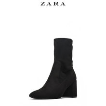 ZARA New Women's Shoes Black Zipper High heel Shoes 16147301040
