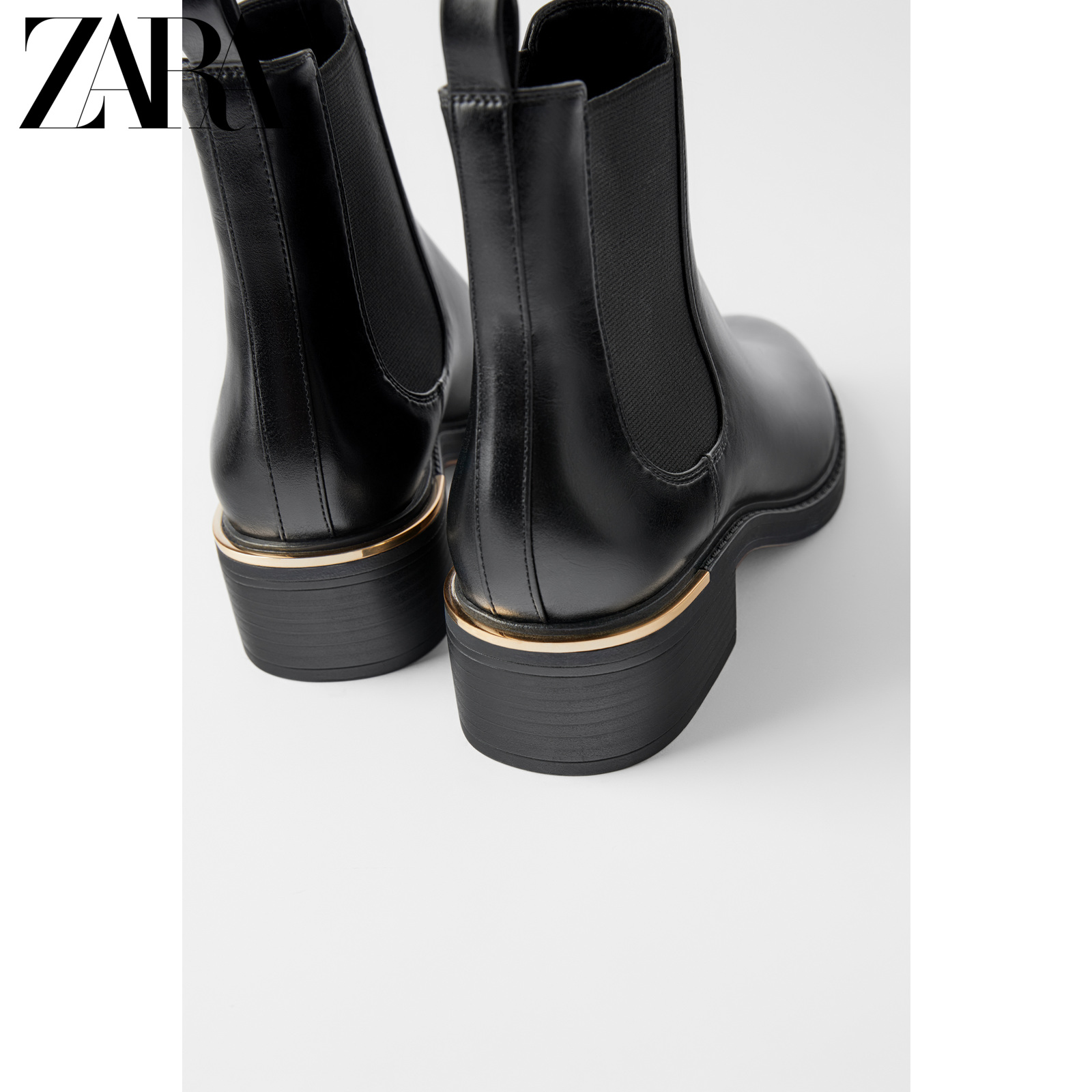 Zara new women's shoes black flat retro smoke tube boots Chelsea boots 16152001040