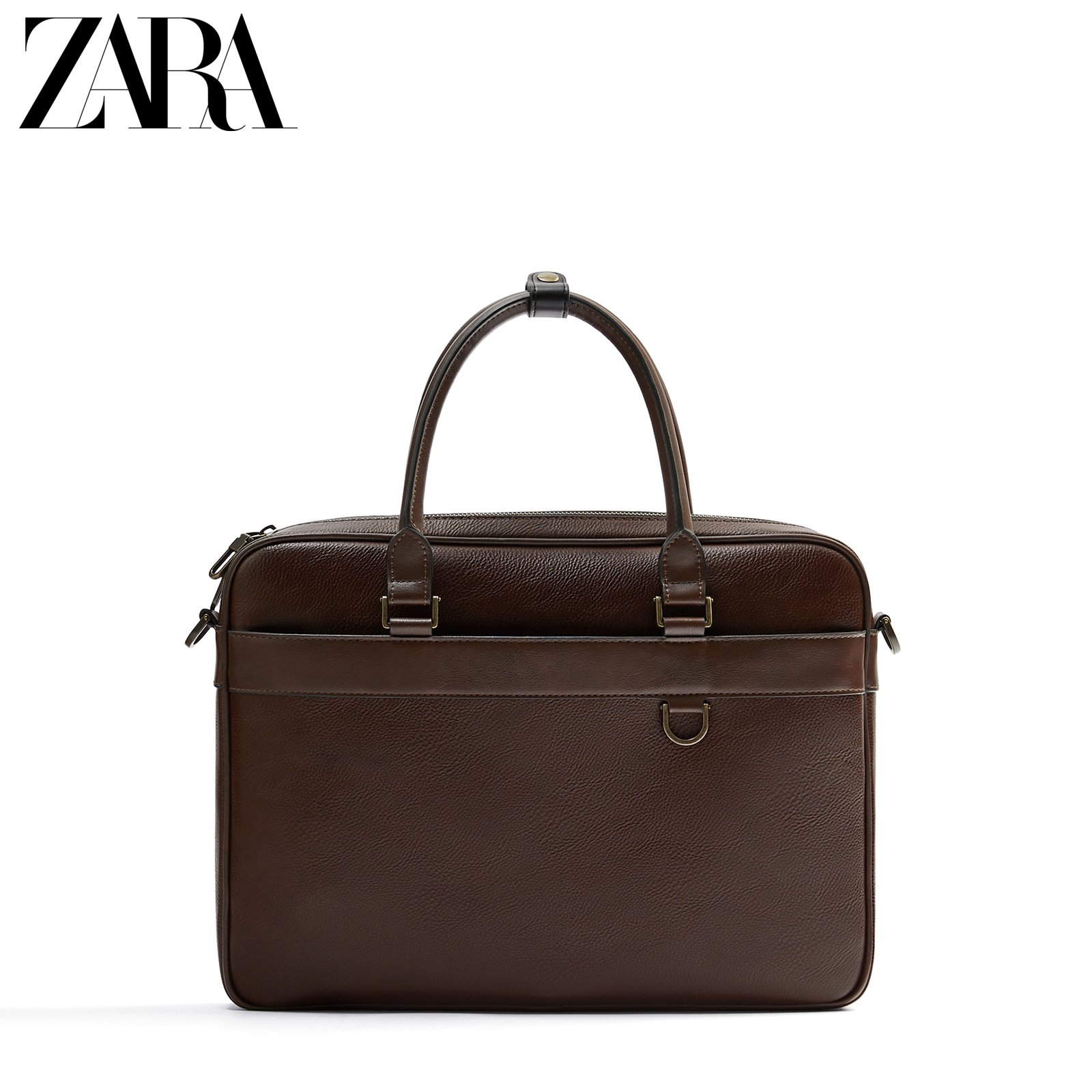 ZARA new men's bag basic series brown business portable briefcase 13407620100