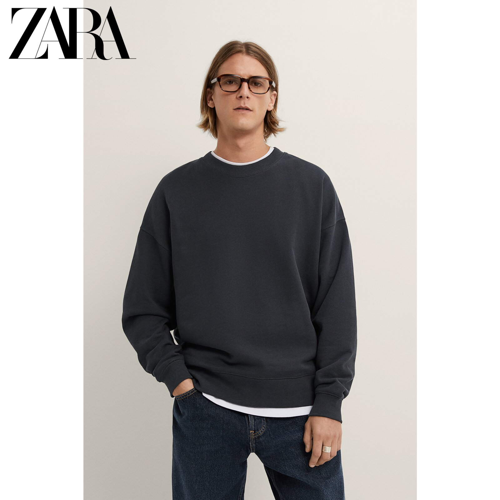ZARA new men's washed loose shoulder sweater sweatshirt 04087338818