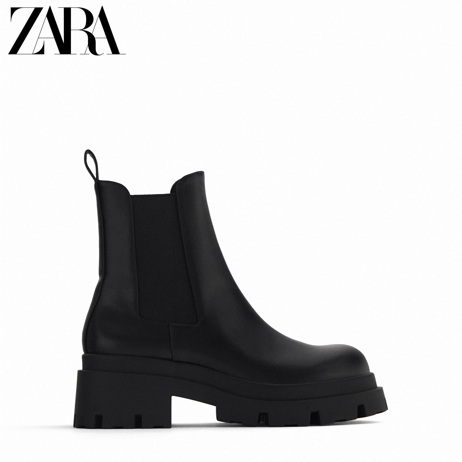 ZARA new TRF women's shoes, black grooved sole, flat-bottomed chimney, Chelsea short boots 13126610040