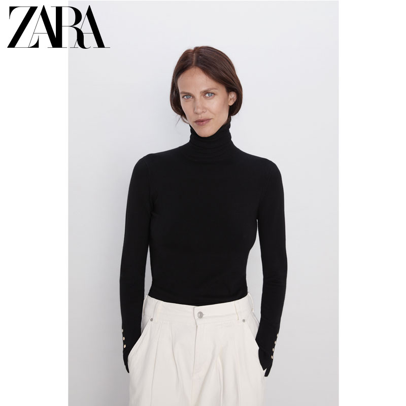 Zara new women's basic high neck fit Pullover Sweater T-shirt 08851123800