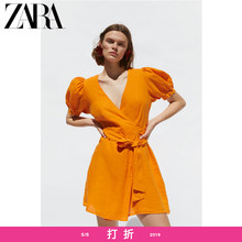ZARA new women's double-breasted flax dress 08566051615