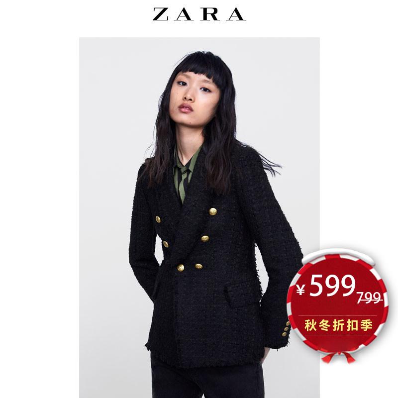 【打折】ZARA 新款 女装 排扣斜纹软呢休闲西装外套 08589679800