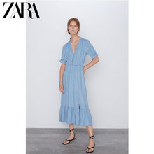 ZARA 2019 New Women's V-collar Short Sleeve Holiday Wind Dress 07987155406