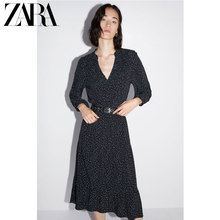 ZARA New Women's Wear French Belt Decorated Dot Dress 09878171800