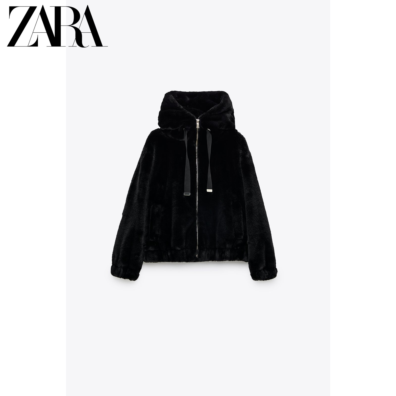 Zara new women's faux fur effect hooded jacket 06318227800