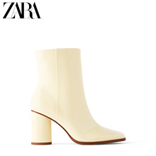 Zara new TRF women's shoes nude paint effect high heel thick heel fashion short boots 13114510002