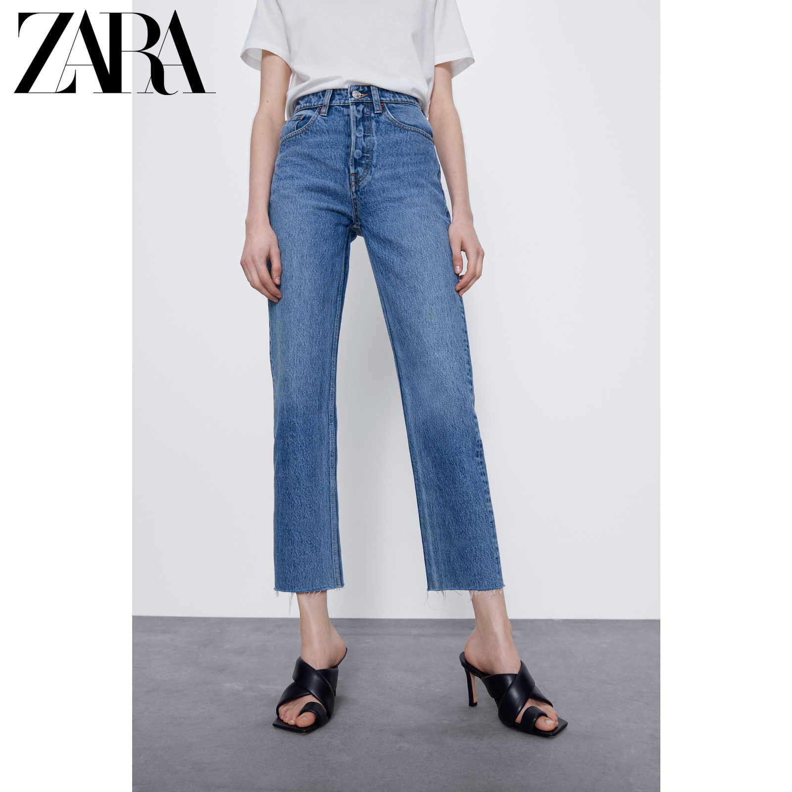Zara new TRF women's straight high waist jeans 04365031401