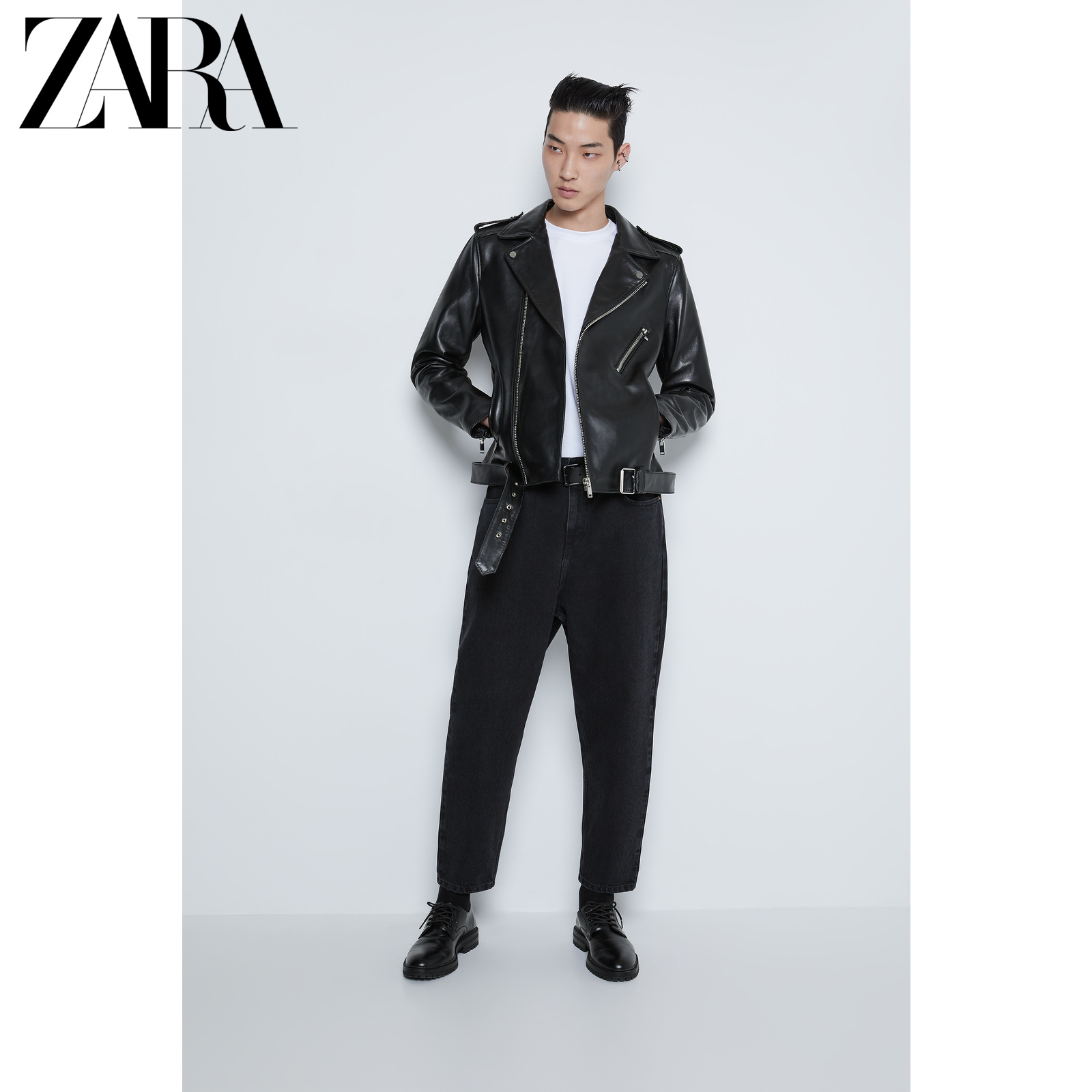 Zara new men's mouse Series Locomotive leather jacket 00706492800