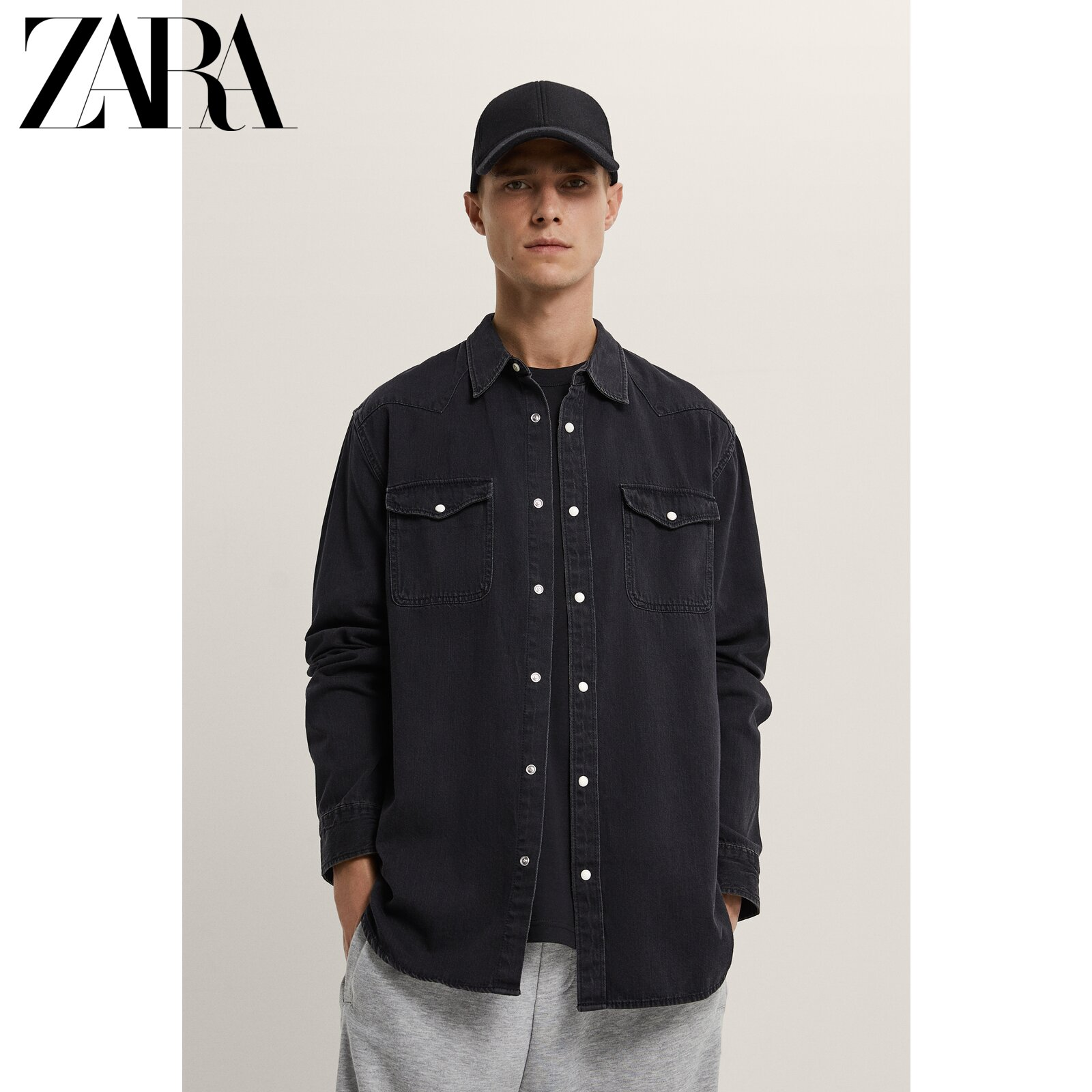 ZARA new men's wear long-sleeved denim shirt with thread decoration 08574450800