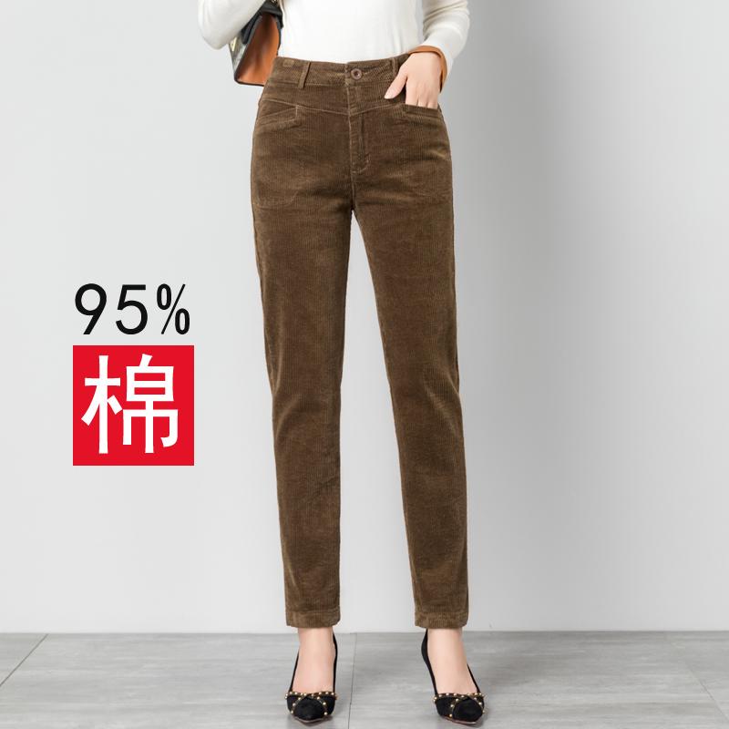 灯芯绒秋冬2020新款高腰显瘦女裤子