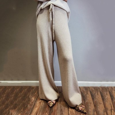 Womens knitted wide leg pants show thin in autumn and winter, high waist and loose sagging feeling, straight tube floor dragging cashmere thickened belt pants
