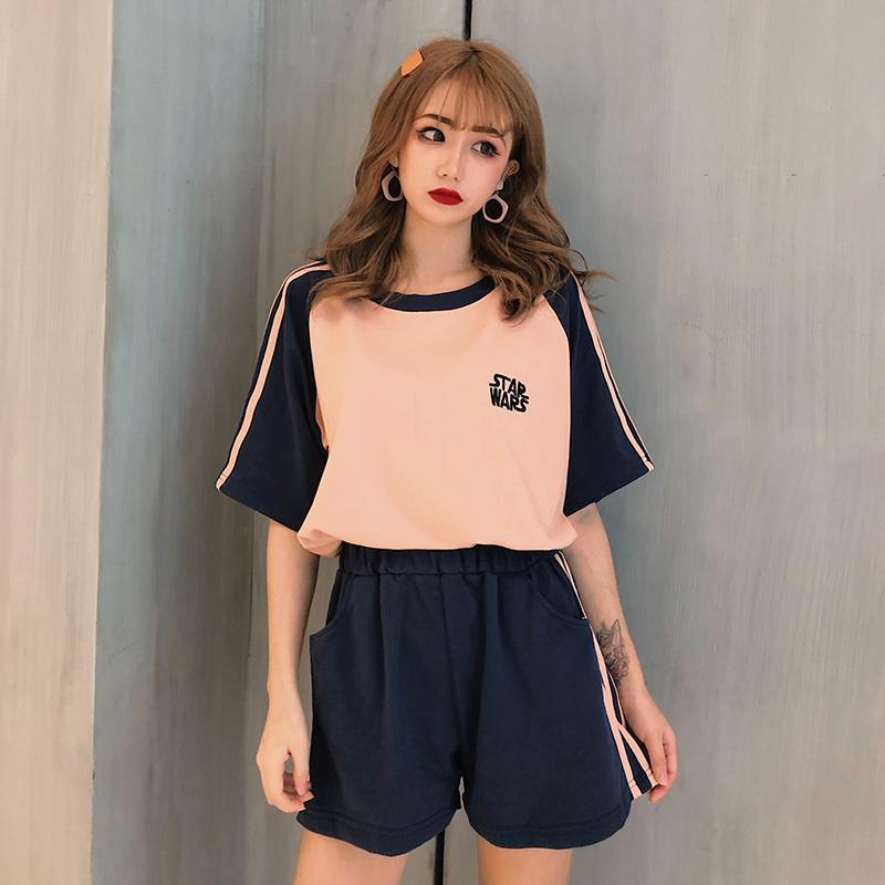 运动套装女夏2020新款时尚大码宽松短袖短裤跑步服休闲学生两件套图片