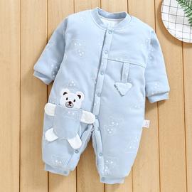 婴儿连体衣秋冬宝宝外出纯棉保暖加厚新生儿衣服冬季夹棉哈衣棉服