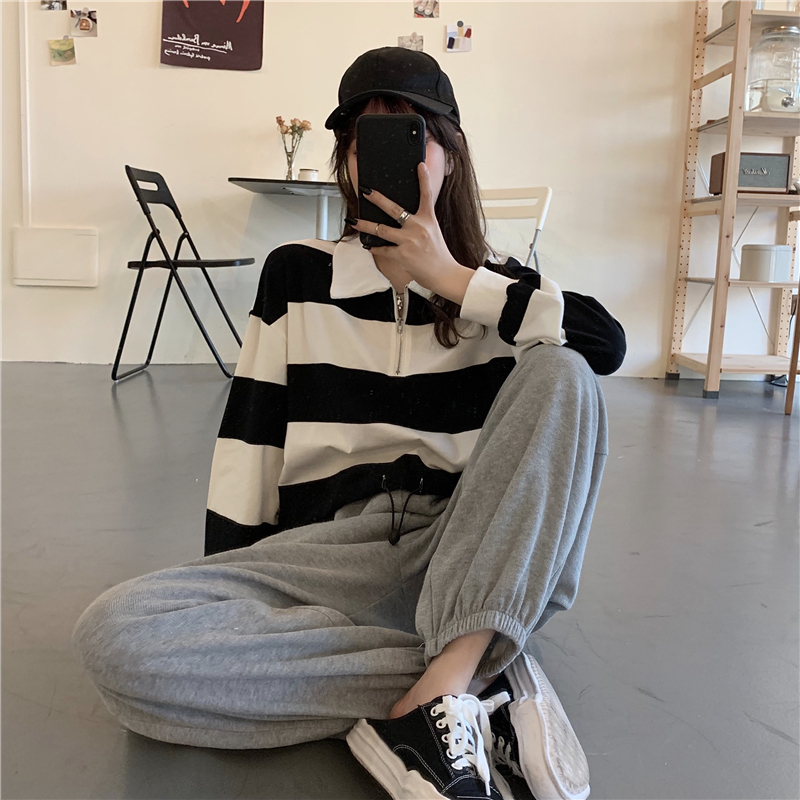 New Korean version of students all-around Lapel wide stripe waist closing sweater loose casual Wide Leg Pants Set in early autumn 2020