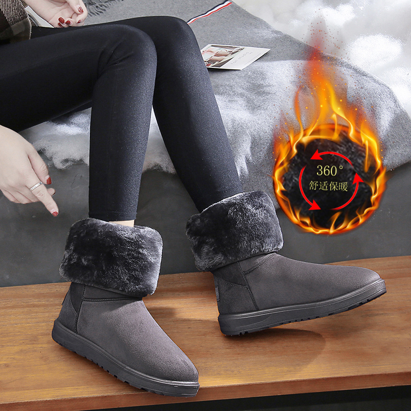 Winter snow boots womens middle tube high tube womens boots with plush and thick breathable non slip warm shoes sleeve student flat bottom cotton shoes